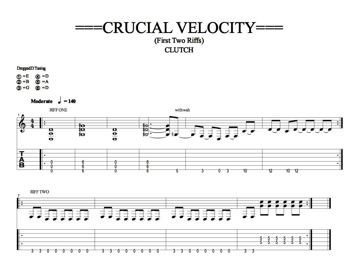 CRUCIAL VELOCITY Riffs One And Two (Quicktime)